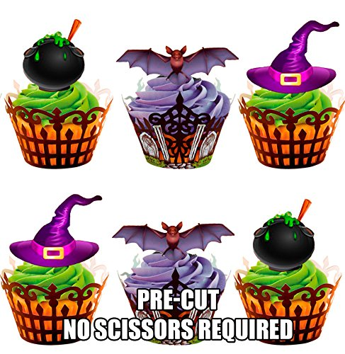AKGifts Halloween Witches And Cauldrons Mix, 12 Cup Cake Toppers, Edible Stand Up Decorations (7 - 10 BUSINESS DAYS DELIVERY FROM UK)