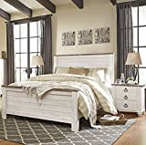Willannet Casual Whitewash Color Wood Queen Panel Bed And Two Nightstands