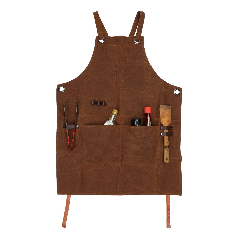 UnisexDurable Carpenter Protective Clothing Goods-Waxed Canvas Workshop Tool Apron With 3 Tool Pockets Cross-Back Straps & Adjustable M to XXL Suitable For Men And Women(HSW-113)