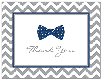 50 Cnt Little Man Bow Tie Baby Shower Thank You Cards (Navy)