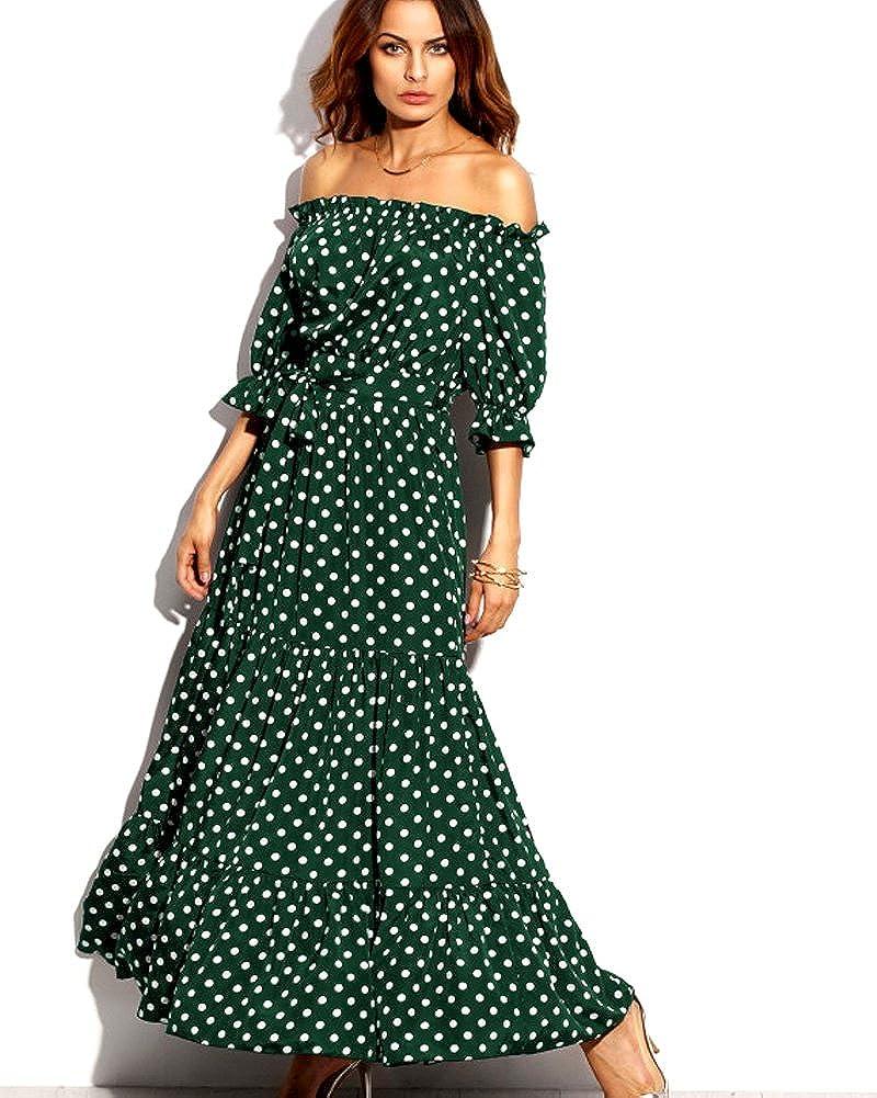 Aofur Maxi Dress Women Strapless Polka Dot Summer Boho Long Casual