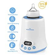 Baby Bottle Warmer, Eccomum Fast Breast Milk Warmer with a Timer, Baby Food Heater with LCD Display Accurate Temperature Control, Constant Mode, Fit All Baby Bottles