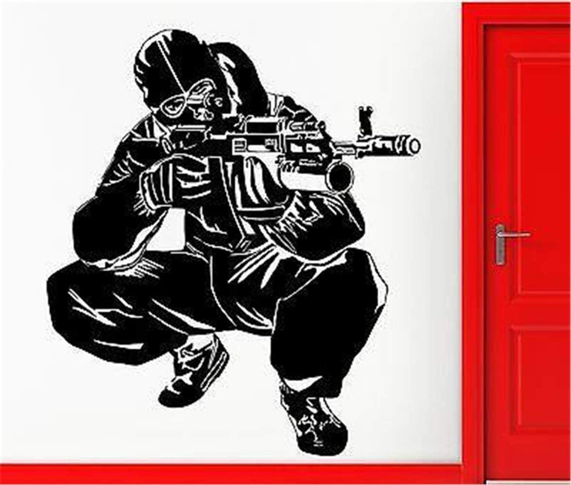 Vinilo removible Decal Art Mural Decoración para el Hogar Pegatinas de Pared Ejército Caballos Especiales AK-47 Militar