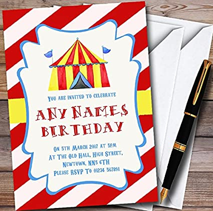 Image Unavailable Not Available For Color Carnival Circus Red Personalized Childrens Birthday Party Invitations