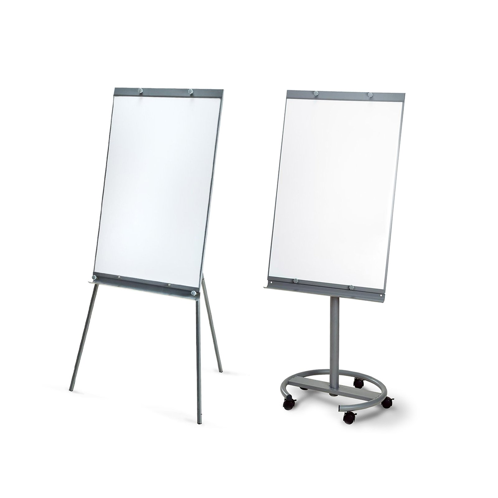 White Board Dry Erase Magnetic Bulletin Easel with Wheels | Height Adjustable Flip Chart with Side Arms | 40'' x 26'' (Writing Surface)