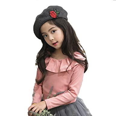 93d2e0dc Girls Black Beret Hat, 100% Wool French Plain Style Classic Solid Beret  Winter Autumn Girls Fashion Hats (Black): Amazon.co.uk: Clothing