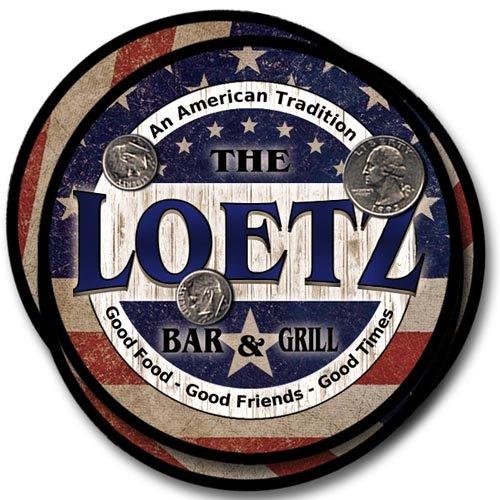 Loetz Bar&Grill Family Name Neoprene Rubber Coasters - 4pcs