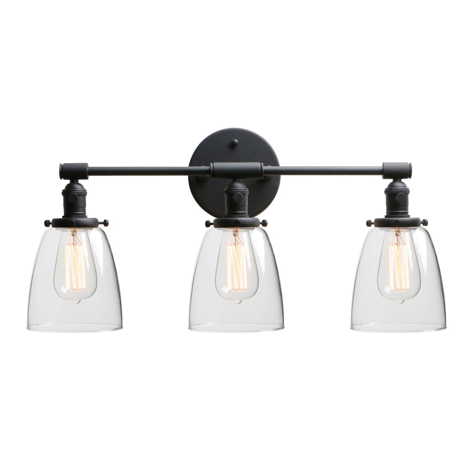 """Phansthy 3 Light Industrial Wall Sconce Black Sconces with 5.6"""" Dome Shape Clear Glass Shade, Black"""