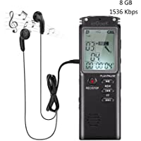ieGeek Digital Voice Recorder, 8GB Audio Sound Dictaphone Voice Activated Recorders with MP3 Player Rechargeable Mic USB Stereo for Recording Interviews Lectures Meeting Class Concert Music
