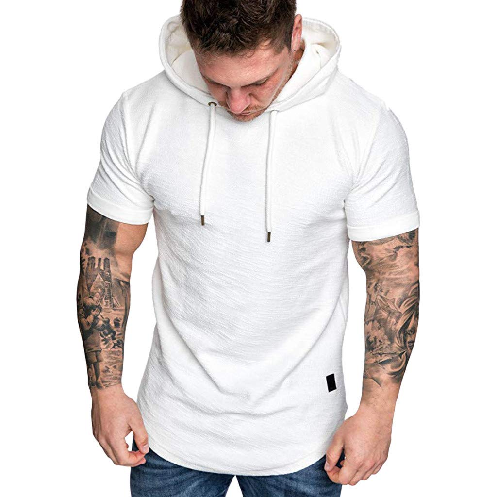 Hosamtel Men Hooded T-Shirt Hoodie Short Sleeve Solid Drawstring Summer Fashion Casual Sport Workout Slim Fit Tops White