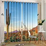 Functional Ombre Linen Sheer Curtains Pair Set Sun Goes Down in Desert Prickly-pear Southwest Texas Park Blue Grommet Curtains(2 Panels)(2 Panels, 54'' x 84'')