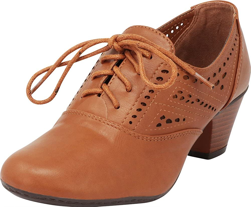 Cambridge Select Women's Lace-Up Vintage Inspired Laser Cutout Stacked Low Heel Oxford Pump