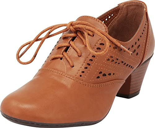 450edd768d6f5 Cambridge Select Women's Lace-Up Vintage Inspired Laser Cutout Stacked Low  Heel Oxford Pump