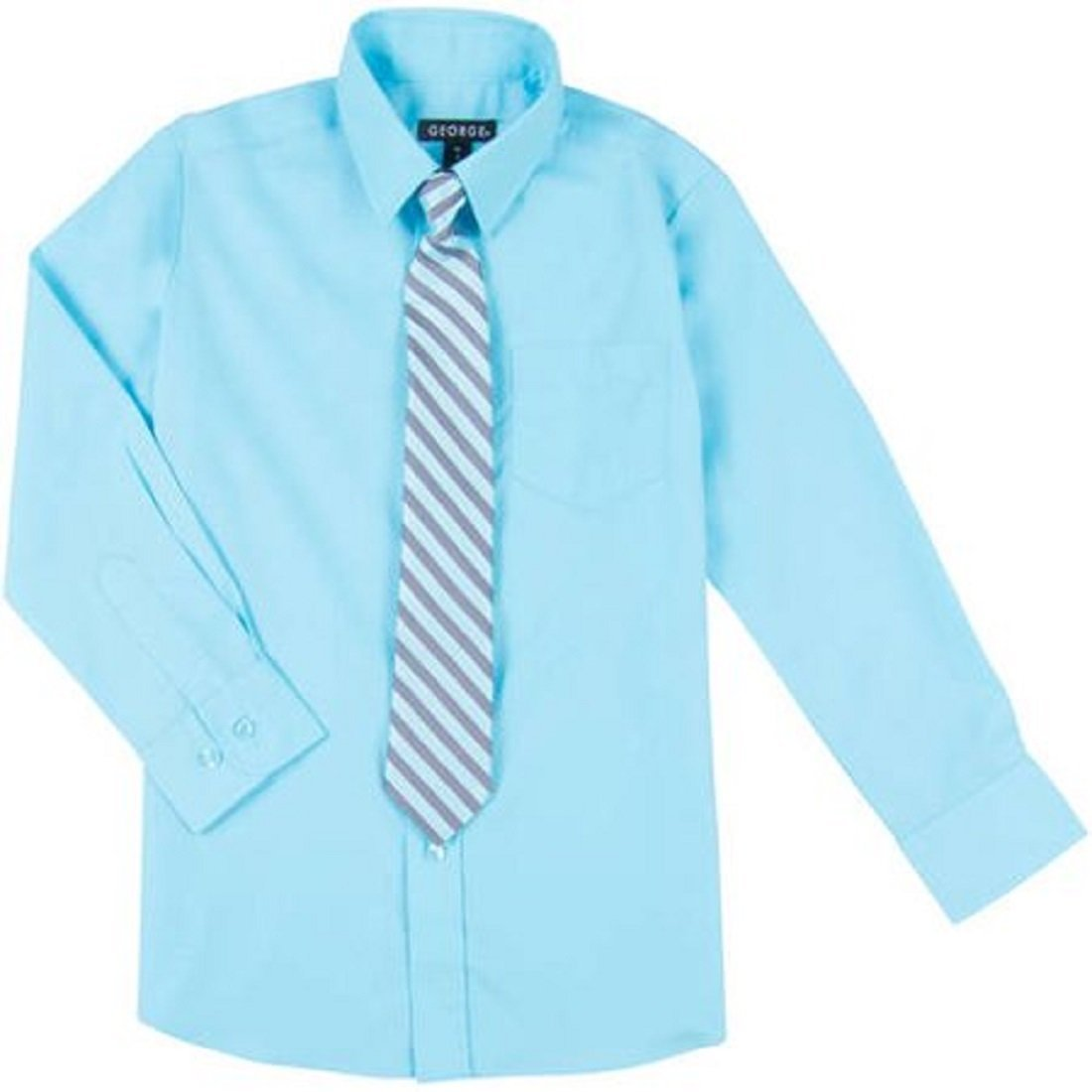 Amazon George Boys Dress Shirt Clip On Tie Solid Blue Button