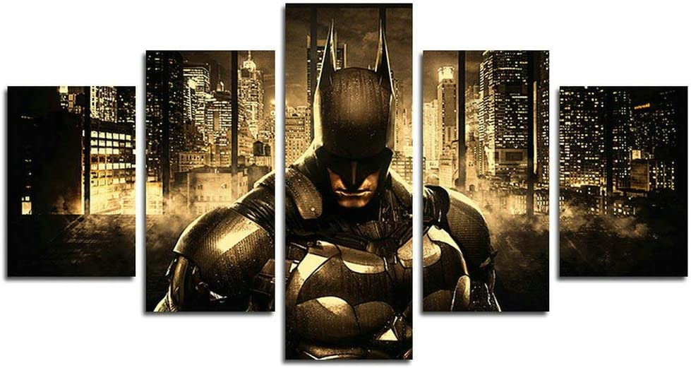 xin da fen 5 Piece Batman DC Comics Superhero painting for living room home decor Canvas art wall poster (No Frame) Unframed LXQ58 size: 50 inch x30 inch
