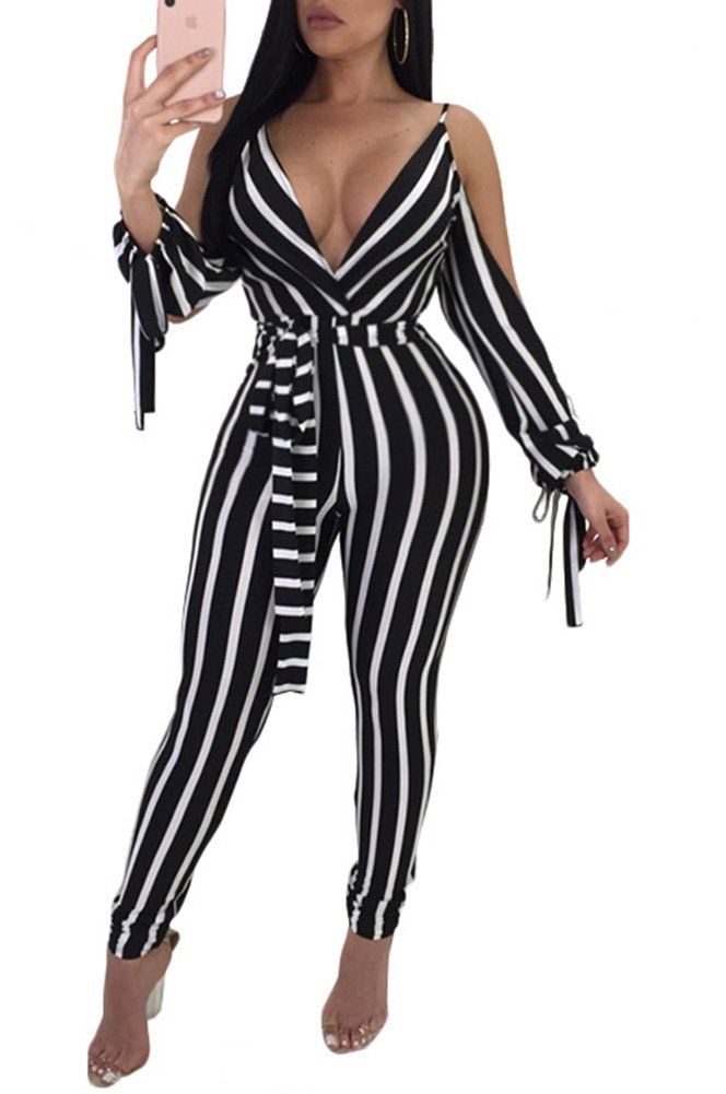 Rela Bota Women's Sexy Deep V Neck Strap Striped Backless Skinny Cold Shoulder Jumpsuits Rompers with Belt Small Black