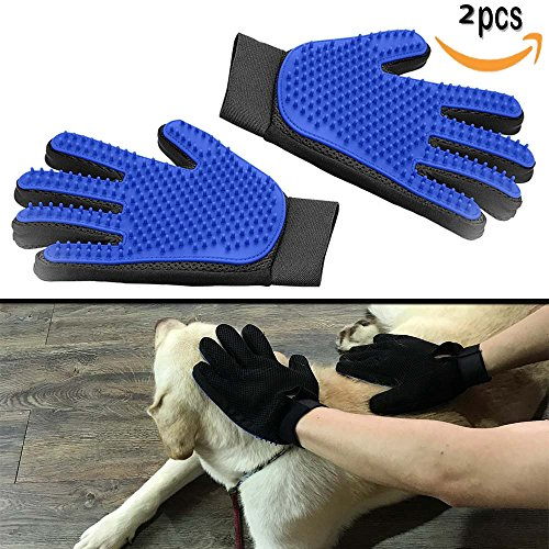 YTH 2 Pack Pet Dog Cat Grooming Glove, 【Upgrade Version】 OMorc Pet Dog Cat Grooming Glove Hair Remover Brush Glove for…