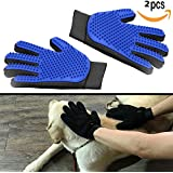 YTH 2 Pack Pet Dog Cat Grooming Glove, 【Upgrade Version】 OMorc Pet Dog Cat Grooming Glove Hair Remover Brush Glove for Pet Grooming Clean Massage Gloves - 2 Pac (Delivery pouch)