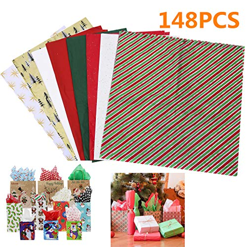 210 Sheets Christmas Kraft Tissue Paper Gift Wrapping Accessory for Christmas Gifts and Wine Bottles (148Sheets)