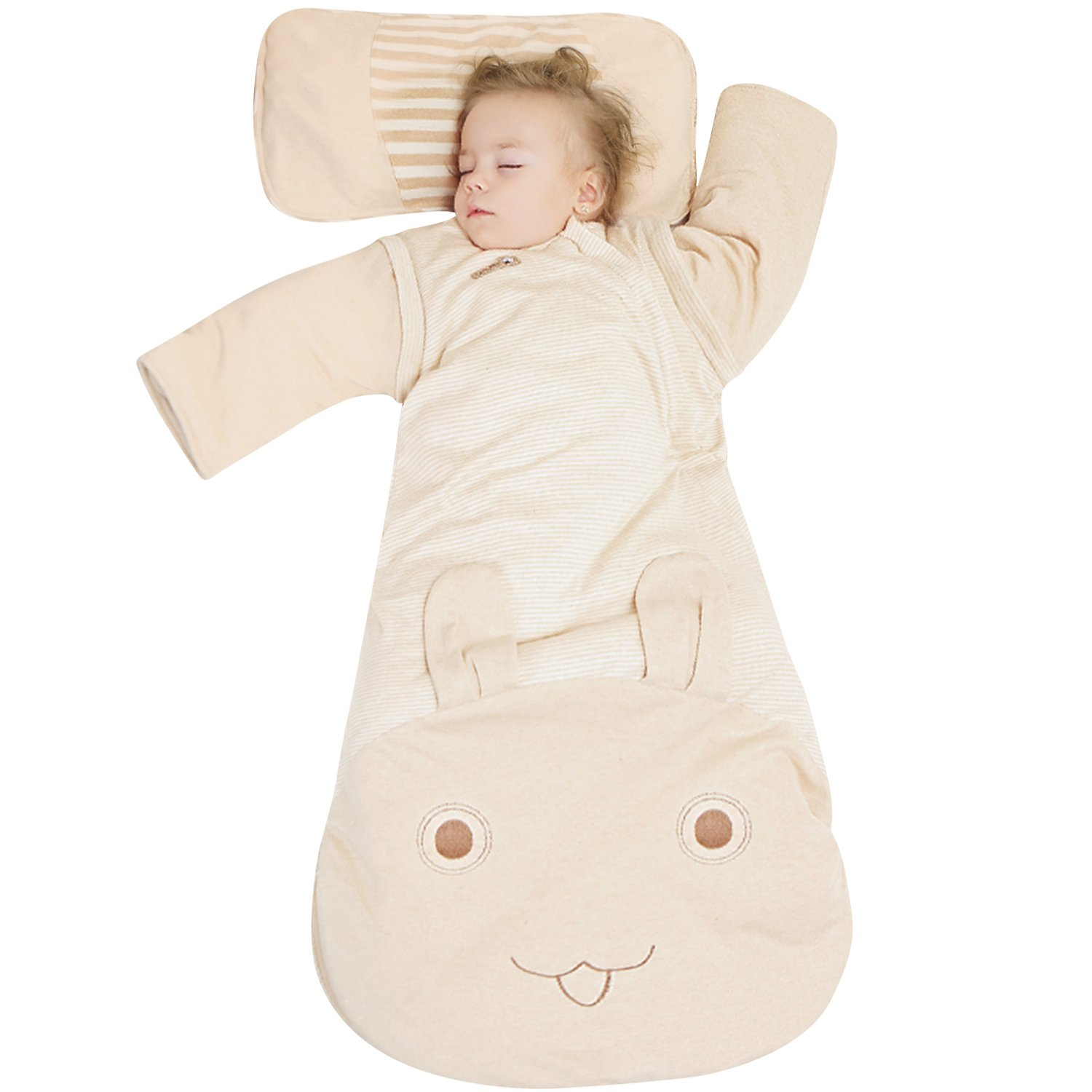OuYun Baby Organic Sleeping Bag Autumn Detachable Sleeve Wearable Blanket, Moderate Thick, Large