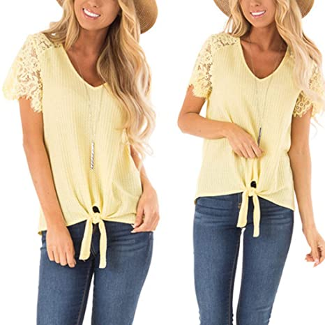 d5951f07422443 Triskye Women 's Tops, Summer Sexy Pure Colour V-Collar Top Fashion Short  Sleeve T-Shirt at Amazon Women's Clothing store: