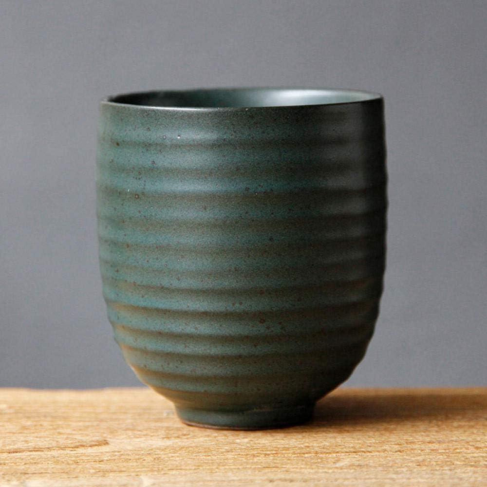 Taza de cerámica retro Taza de gres Taza personal de estilo japonés Taza de té de reunión Vaso de cerveza Taza de cerámica pequeña-Taza de corazón Zen 01-Verde antiguo