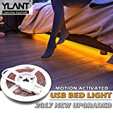 YLANT Smart Motion Activated LED Bed Light with PIR Switch 5Ft IP65 Flexible 5V USB Safety 45 LEDs Strip Night Light with Automatic Shut Off Timer Sensor for Bedroom Cabinet Stairs