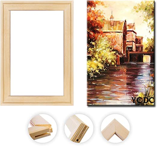 """Solid Canvas Stretcher Frames, Premium Pine Wood Strips Bar Set, for Oil Paintings Poster Prints, DIY Arts Accessory Materials Supply, 16""""x20""""/40x50cm: Amazon.co.uk: Kitchen & Home"""