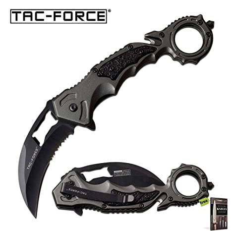 Spring-Assist Folding Knife Tac-Force Gray Karambit Black Serrated Carbon Sharp Blade Rescue Knife + Free eBook by SURVIVAL STEEL