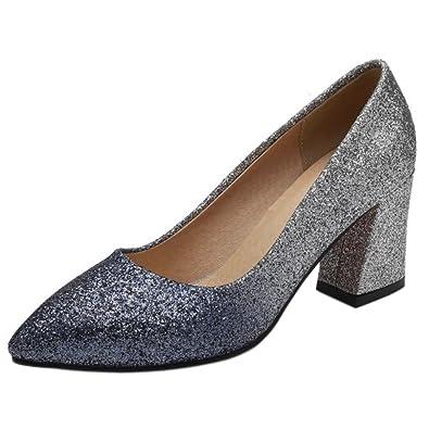 c93160819b6 TAOFFEN Women Glitter Block Heel Heels Shoes Slip On Blue Size 34 Asian