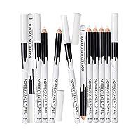 White Eyeliner Pencil Professional Highlighter Eye Liner Pen Soft Strokes Waterproof Long-Lasting Eyeshadow Eye Silkworm Brighten Pencil Beauty Makeup Tool (12pcs)
