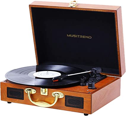 Wood AUX RCA Headphone Jack Musitrend Record Player 3-Speed Belt-Drive Turntable with Built-in Stereo Speakers Vintage Style Record Player Support Vinyl-to-MP3 Recording