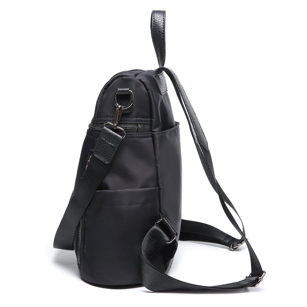 Thobu Women Fashion Nylon Backpack Purse Lightweight Schoolbag Travel Casual Daypack-Black by Thobu (Image #5)