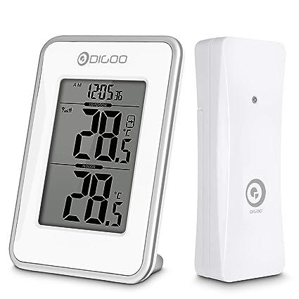 DIGOO Termómetro Digital, Temperatura Máxima Interior y Exterior, Sensor Exterior Inalámbrico, Pantalla de