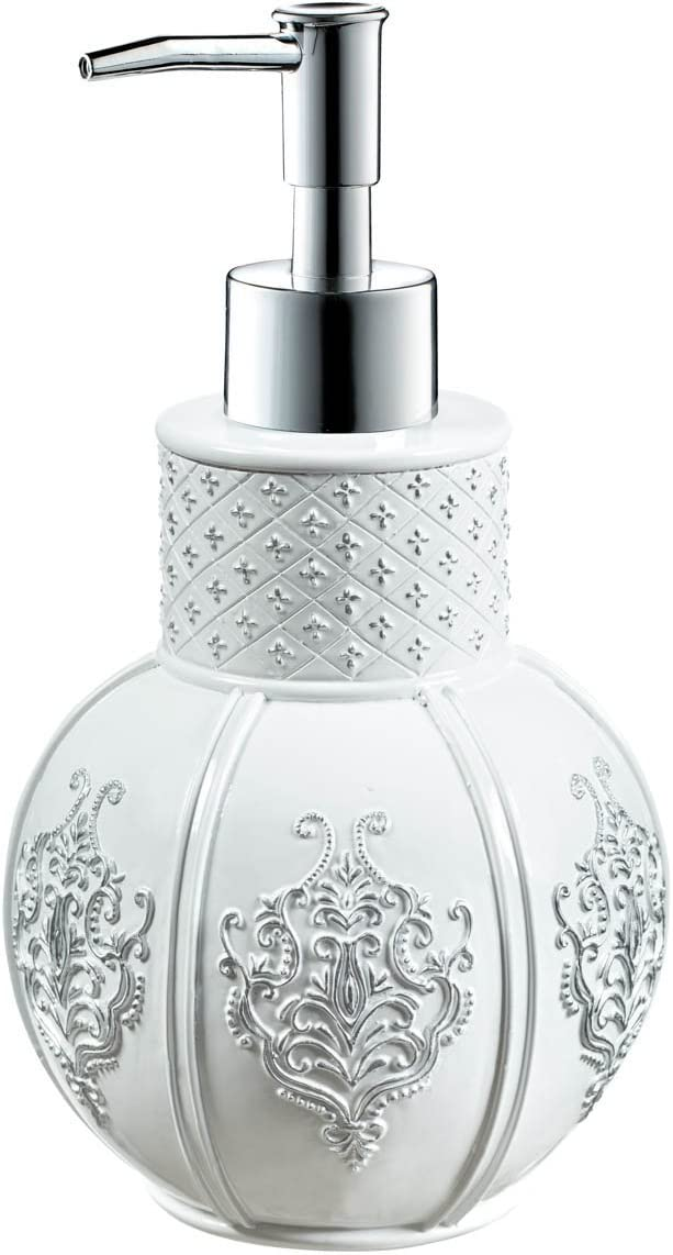"Creative Scents Vintage White Hand Soap Dispenser (4.25"" x 4.25"" x 7.75"") Countertop Decorative Lotion Pump, Resin Shower Dispensers, for Elegant Bathroom Decor White/Silver"
