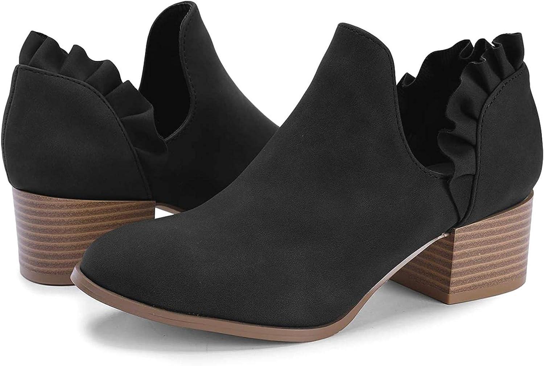 Ermonn Womens Ruffle Ankle Boots V Cut