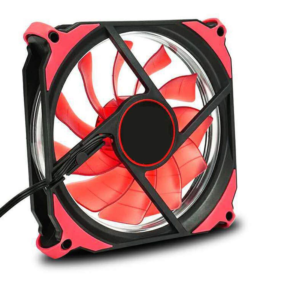 Ndier LED du Ventilateur de Bureau LED Ultra Power Mute Ventilateur Ultra Silencieux /à Haute Airflow Computer Case Fan 1200 RPM Pwm 120mm Silencieux CPU Fan PC Computer Case Cooler Red Light