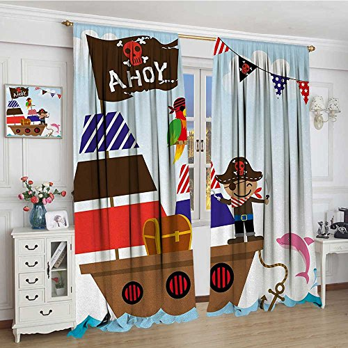 youpinnong Ahoy Its a Boy Room Darkening Wide Curtains Cute Pirate Kids Treasure Chest with Ship on Ocean Background Illustration Drapes for Living Room 108