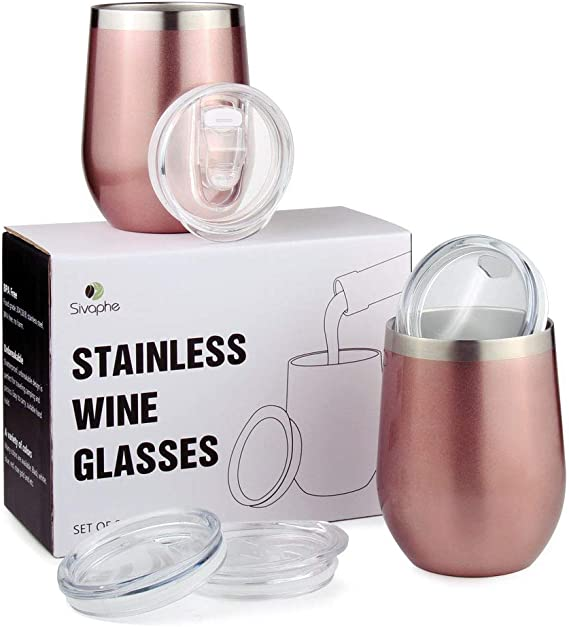 Insulted WineGlasses Tumbler with Lid Spilling off Double-Wall Stainless Steel Travel Coffee Mugs 2Packs Unbreakable Drinking Cups for Wine Cocktails Ice Cream (12OZ Rosegold)