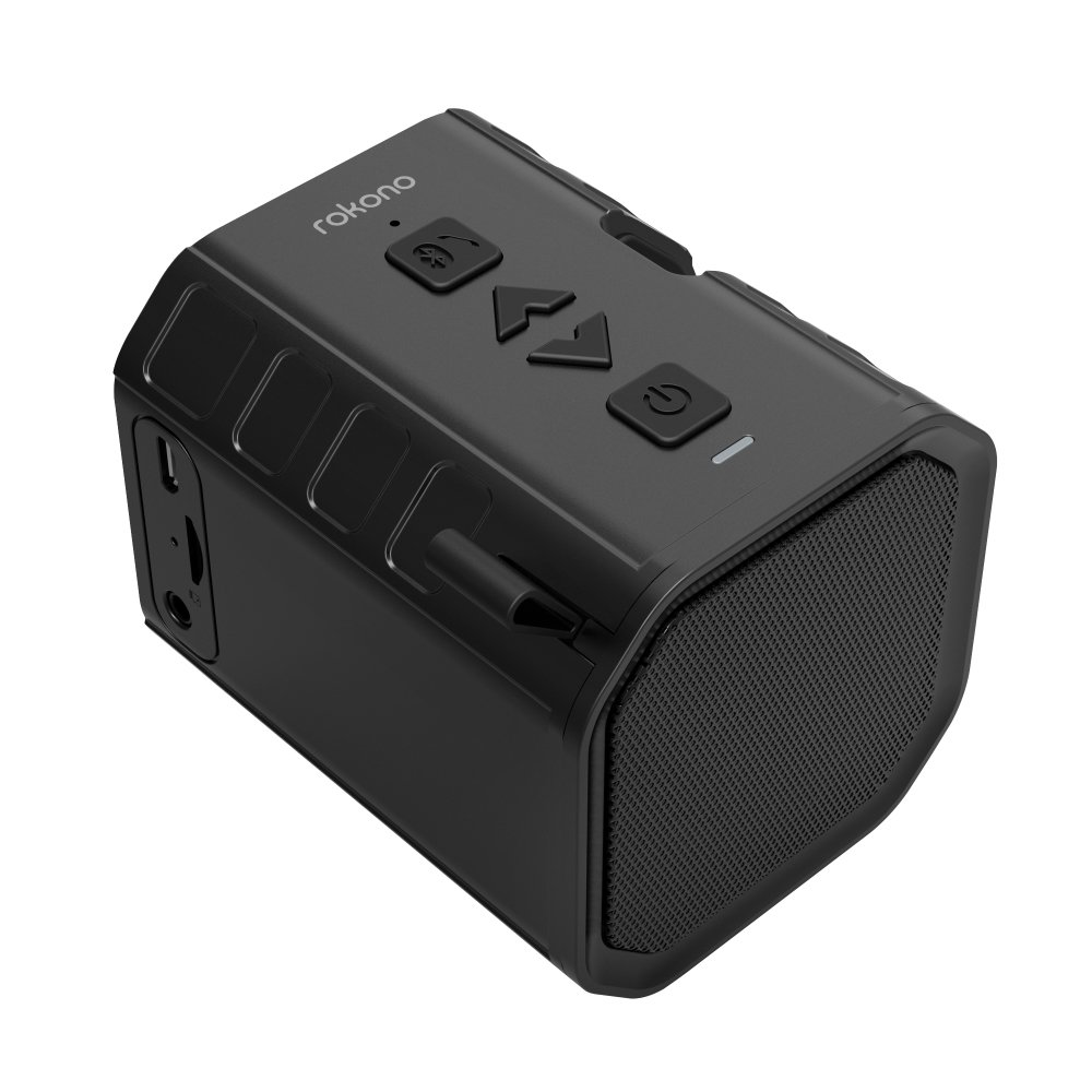Rokono BASS+ (Sidewinder) Bluetooth Speaker with Cell Phone Holder Grip for iPhone/Samsung - Black