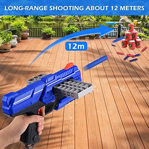 Pistola de Dardos para Flechas Nerf, Pistola de Juguete con Clips de 12 Balas + 60 Dardos de Espuma, Juego de Disparos Infantiles, Juguete de Armas Niño, Regalos de Cumpleaños Niños de 6 a 12 Años