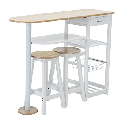White Kitchen Island Cart | Amazon Com Alitop Kitchen Island Trolley Cart Dining Table Storage
