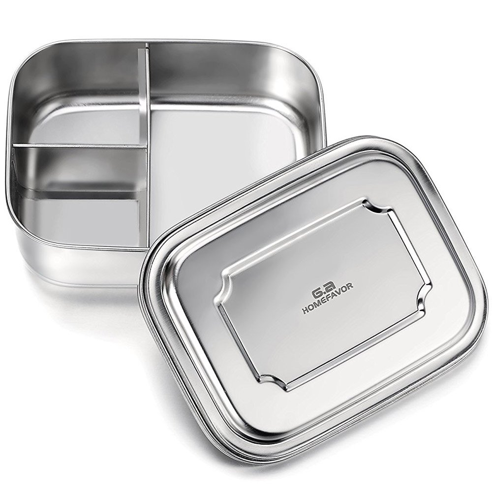 GA Homefavor Stainless Steel Bento Lunch Box 35 Ozs, 3-Compartment Pefect for Adults and Kids