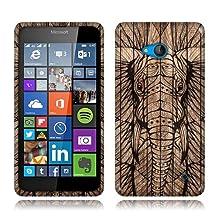 NextKin Microsoft Lumia 640 Flexible Slim Silicone TPU Skin Gel Soft Protector Cover Case - Elephant Head Aztec Wooden
