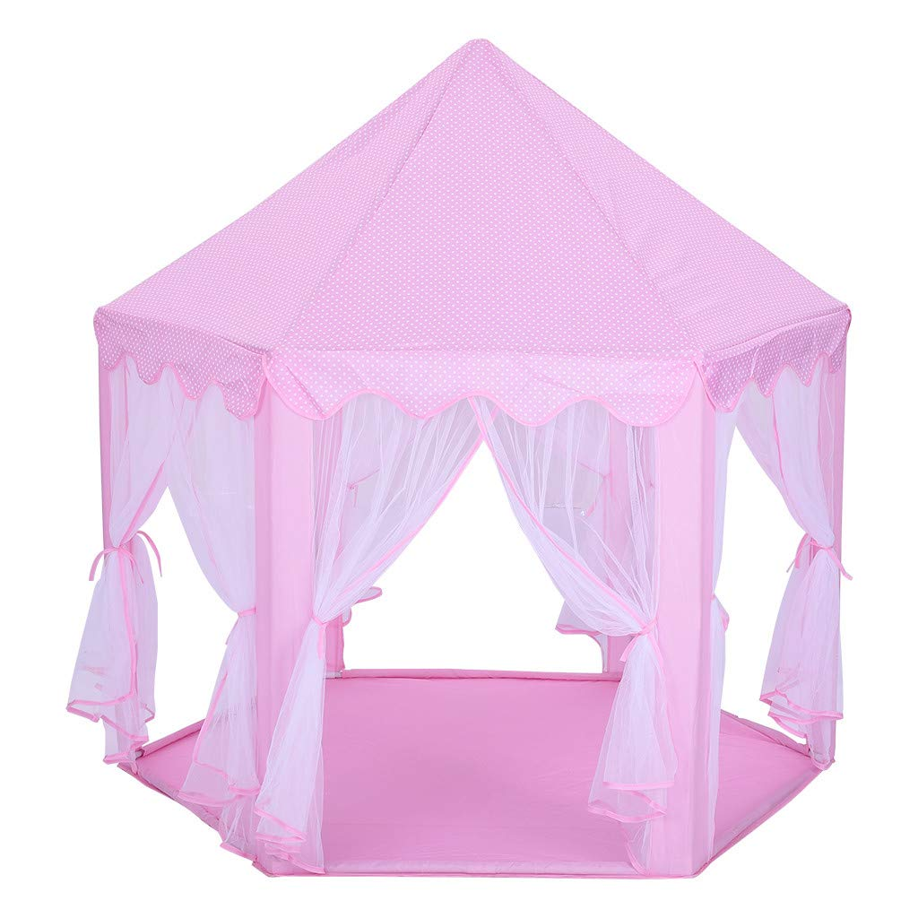 Hellofishly Princess Castle Play Tent, Fairy Tents for Kids Large Hexagon Play House Toys, Children Indoor and Outdoor Games Children Play Tent