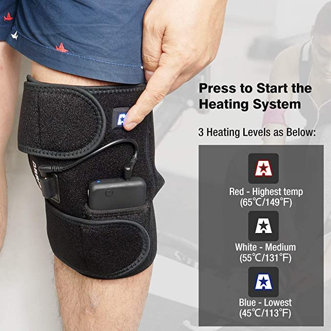 c525c617ec ARRIS Heated Knee Brace Wrap Support/Electric Therapeutic Heating Pad  W/Rechargable 7.4V 2600Mah Battery for Joint Pain, Pain Relief (3  Temperature Setting) ...