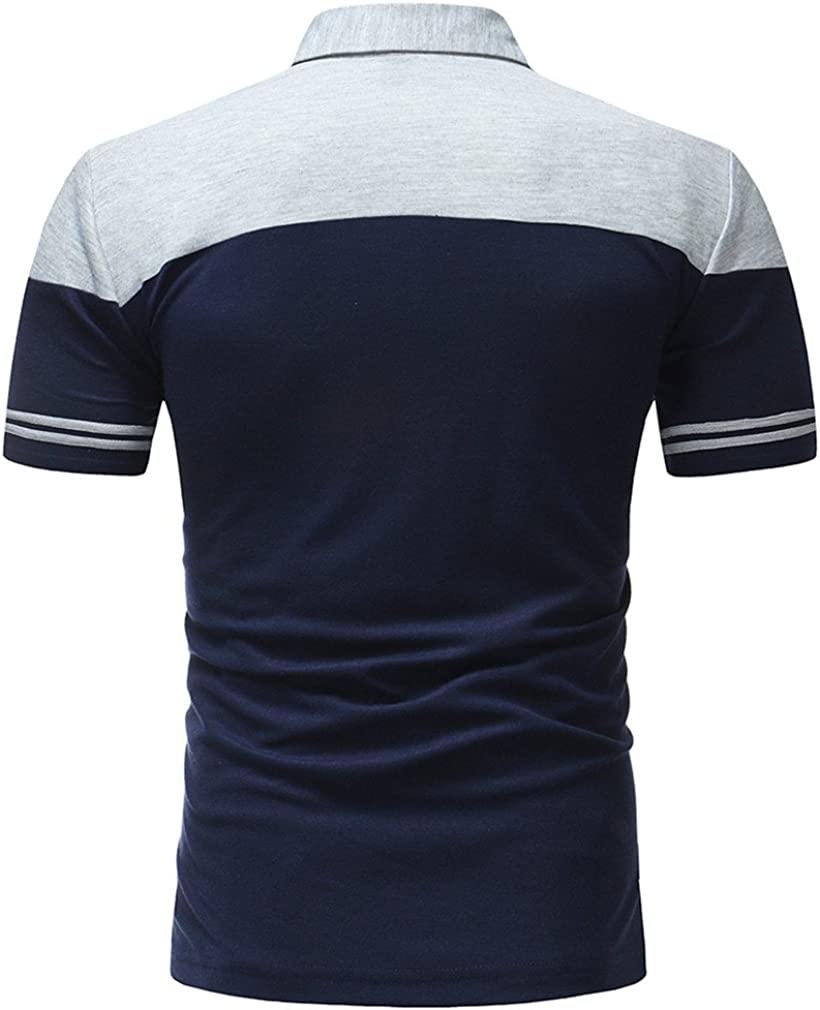 Usopu Mens Casual//Daily Going Out Striped Patchwork Lapel Short Sleeve Polo Shirt