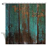 Vandarllin Country Rustic Distressed Teal Green Barn Wood Fa Waterproof Shower Curtain 72'' X 72''