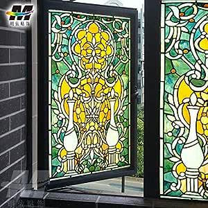 libby-nice Pegatinas de Vidrio Personalizadas Pegatinas de vidrieras Pegatinas de Ventana de Iglesia Baño Puerta corredera Película Mate Película cálida Accesorios de Cocina Color: Amazon.es: Hogar