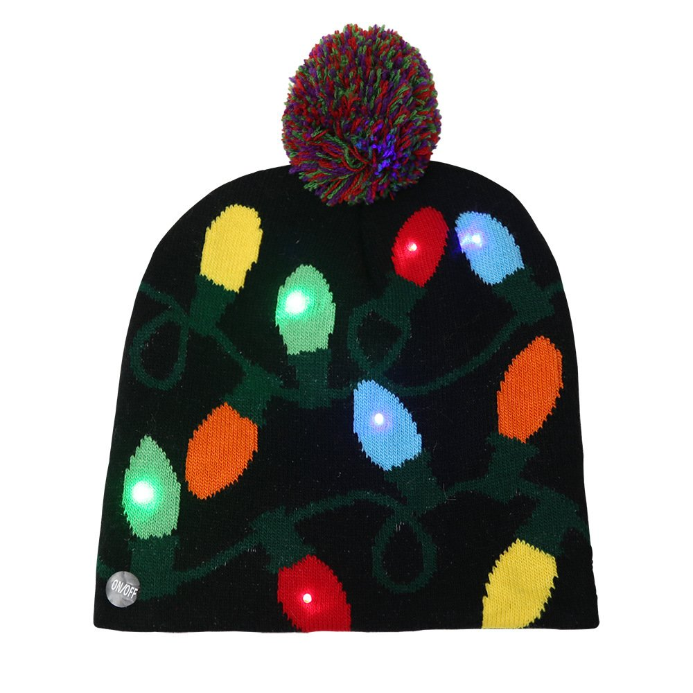 iYunyi LED Light-up Knitted Ugly Sweater Holiday Xmas Christmas Beanies